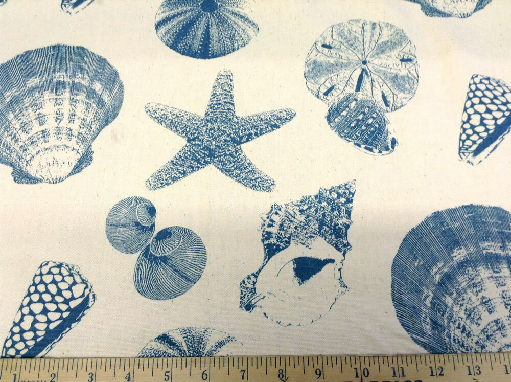 Discount fabric premier prints sea shells pacific teal for Cheap fabric by the yard