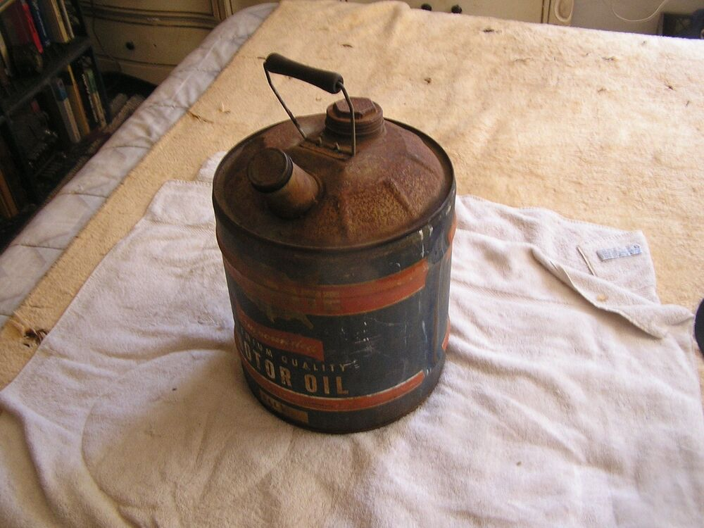 Vintage allstate 5 gallon motor oil jug ebay for Gallon of motor oil