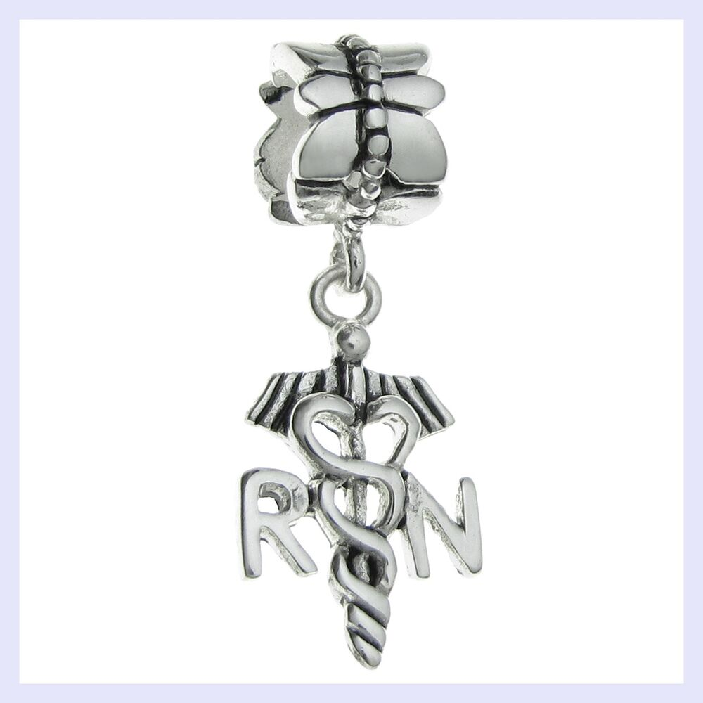 str silver occupation rn registered nurse dangle bead f