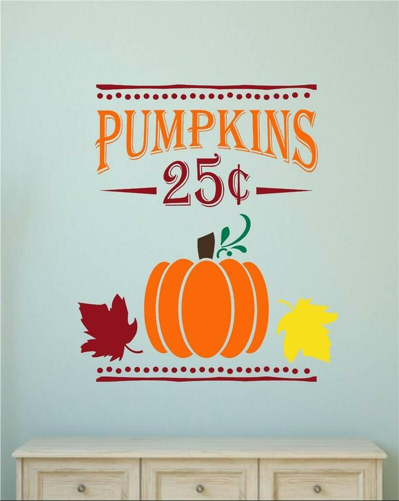 Pumpkins 25 Cents Fall Harvest Decor Vinyl Decal Wall Stickers Letters Words eBay - Wall Art Stickers Ebay