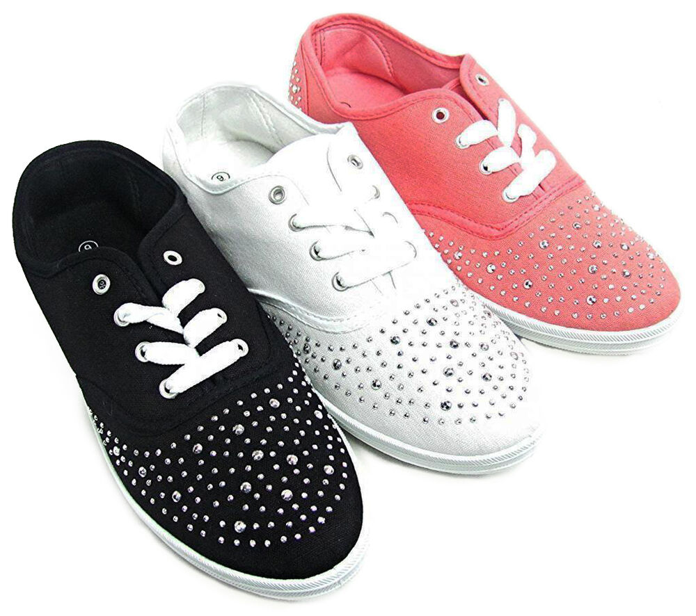 womens silver studded canvas lace sneakers tennis shoes