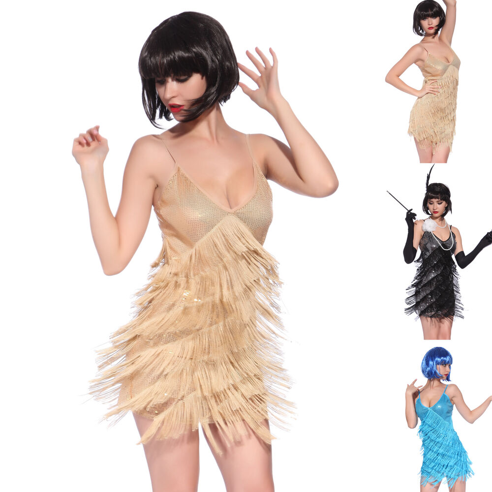 Retro Gatsby Look 8 Tiered Flapper Sequined Fringed Dance Mini Evening ...