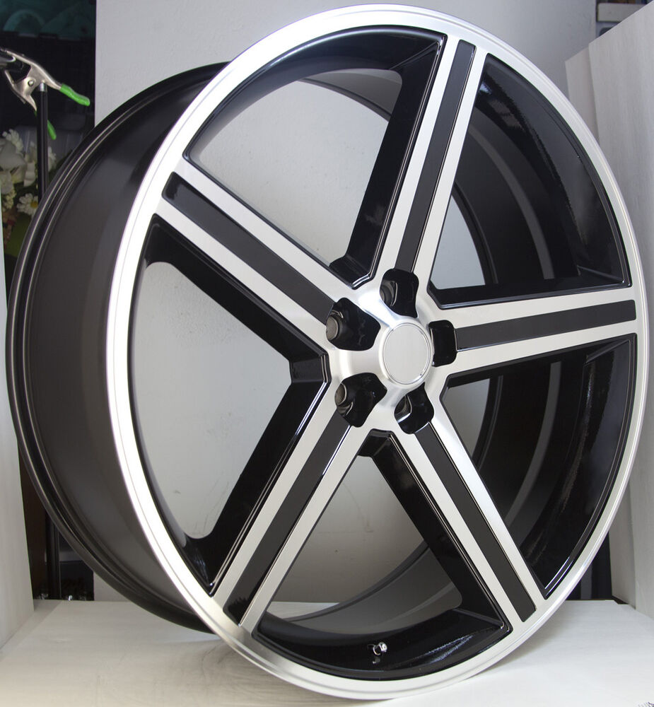 "Dodge Challenger 24 Inch Rims >> 24"" IROC BLACK MACHINED 5 Lug Wheel SET 24x10 IROCS 5x115 Classic CHEVY RIMS 