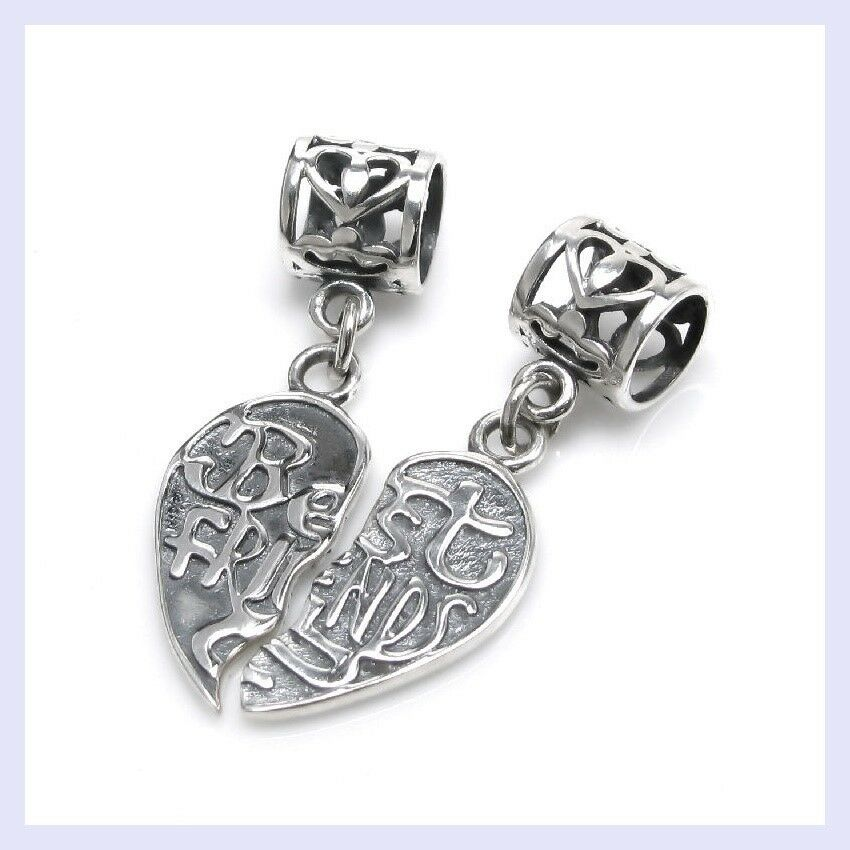 Best Friend Charm Bracelet: STR Sliver Best Friend Forever Together / Apart Bead F