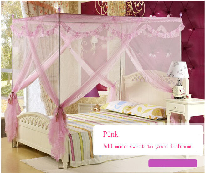 Romantic lace 4 post bed curtain canopy mosquito net for - King size canopy bed with curtains ...