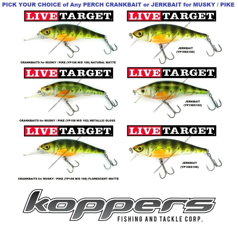 Koppers live target yellow perch crankbait jerkbait 4 75 yp115 walleye
