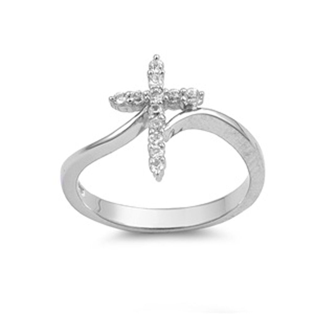 Sterling Silver Woman's Clear CZ Cross Ring Unique 925 ...