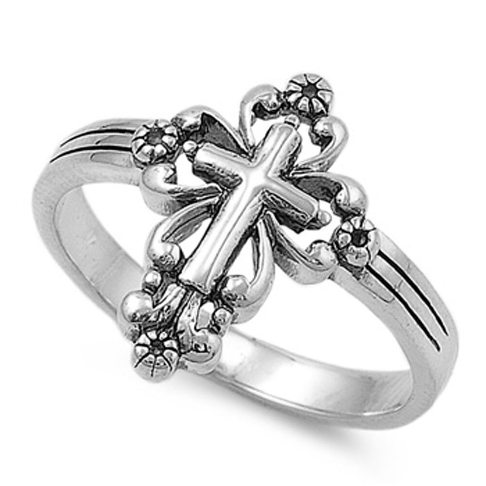 Sterling Silver Classic Vintage Cross Ring Christian