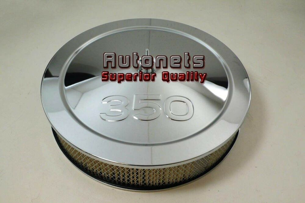 Chevy 350 Air Cleaner : Quot chevy logo chrome steel air cleaner filter street