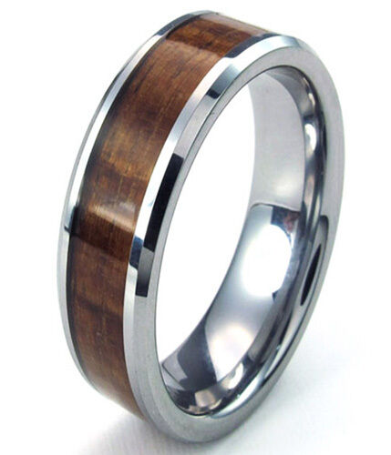 tungsten men 39 s ring wood inlay beveled edges wedding band