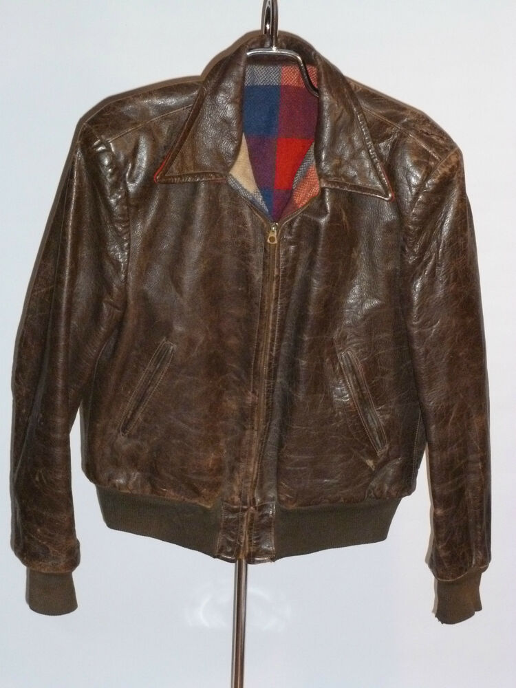 VINTAGE 1940s LEATHER BOMBER JACKET! BRASS CONMAR ZIPPER ...