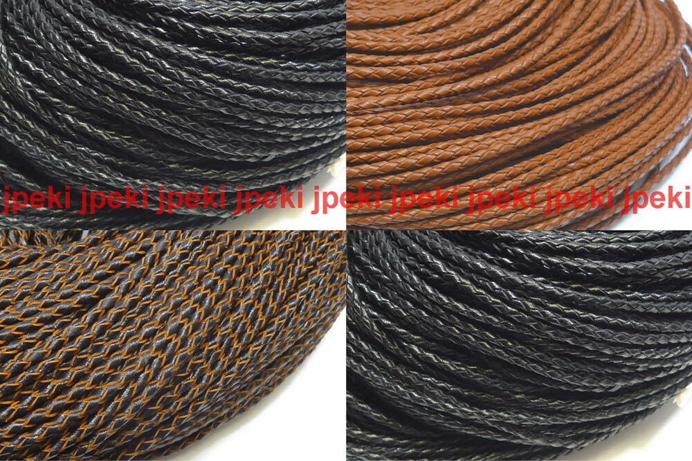 Genuine Round Leather Cord 3mm 1 8 Quot Braided Bolo Leather