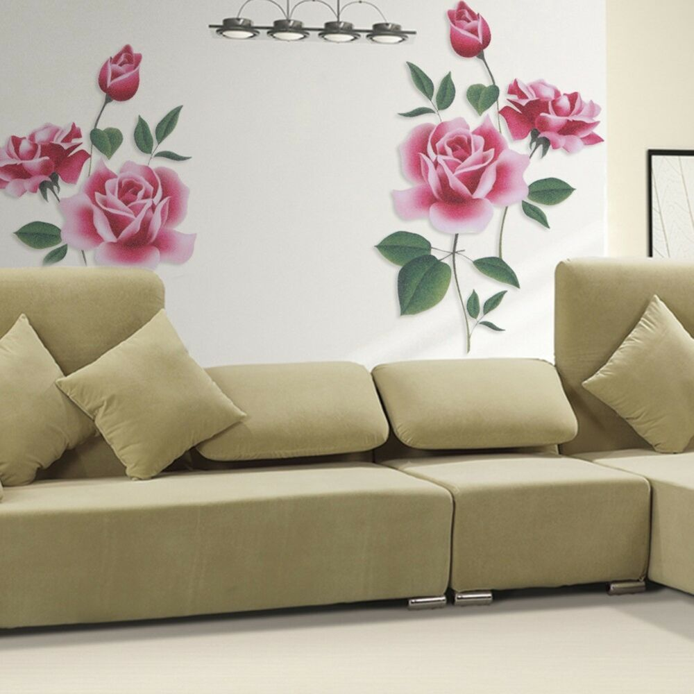 Rose Flower Removable Wall Vinyl Decal Art Home Decor Wall Sticker New Ebay