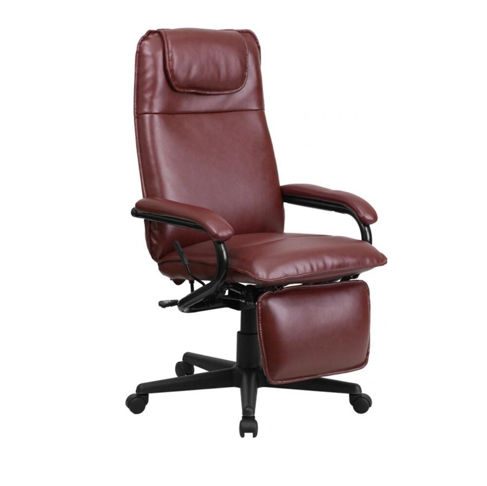 high back burgundy leather executive reclining office chair new ebay