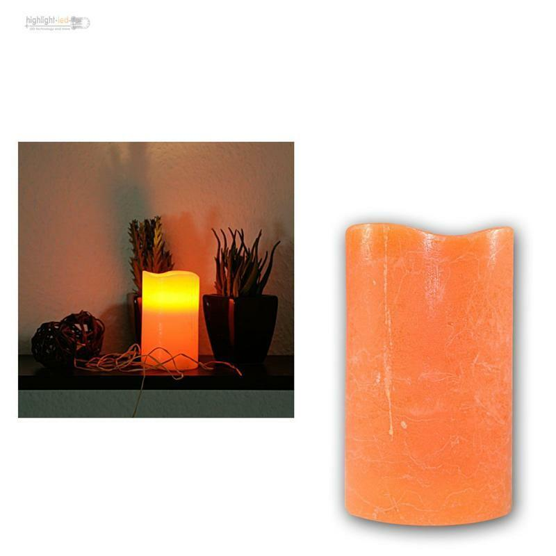 led echtwachs kerze orange mit timer 12 5cm flackernde elektrische kerzen candle ebay. Black Bedroom Furniture Sets. Home Design Ideas