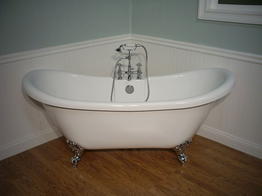 A Double Slipper Clawfoot Bathtub Amp Faucet Pedestal Tub EBay