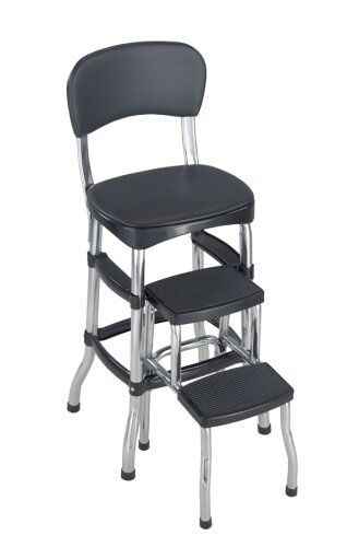New Cosco Black Retro Counter Chair Step Stool Folding