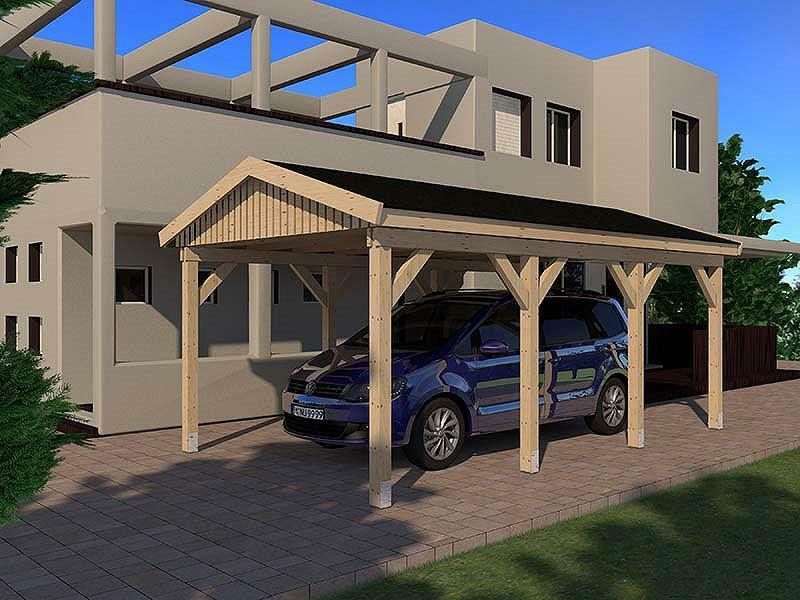 carport satteldach le mans i 350x600cm konstruktionsvollholz kvh bausatz fichte ebay. Black Bedroom Furniture Sets. Home Design Ideas