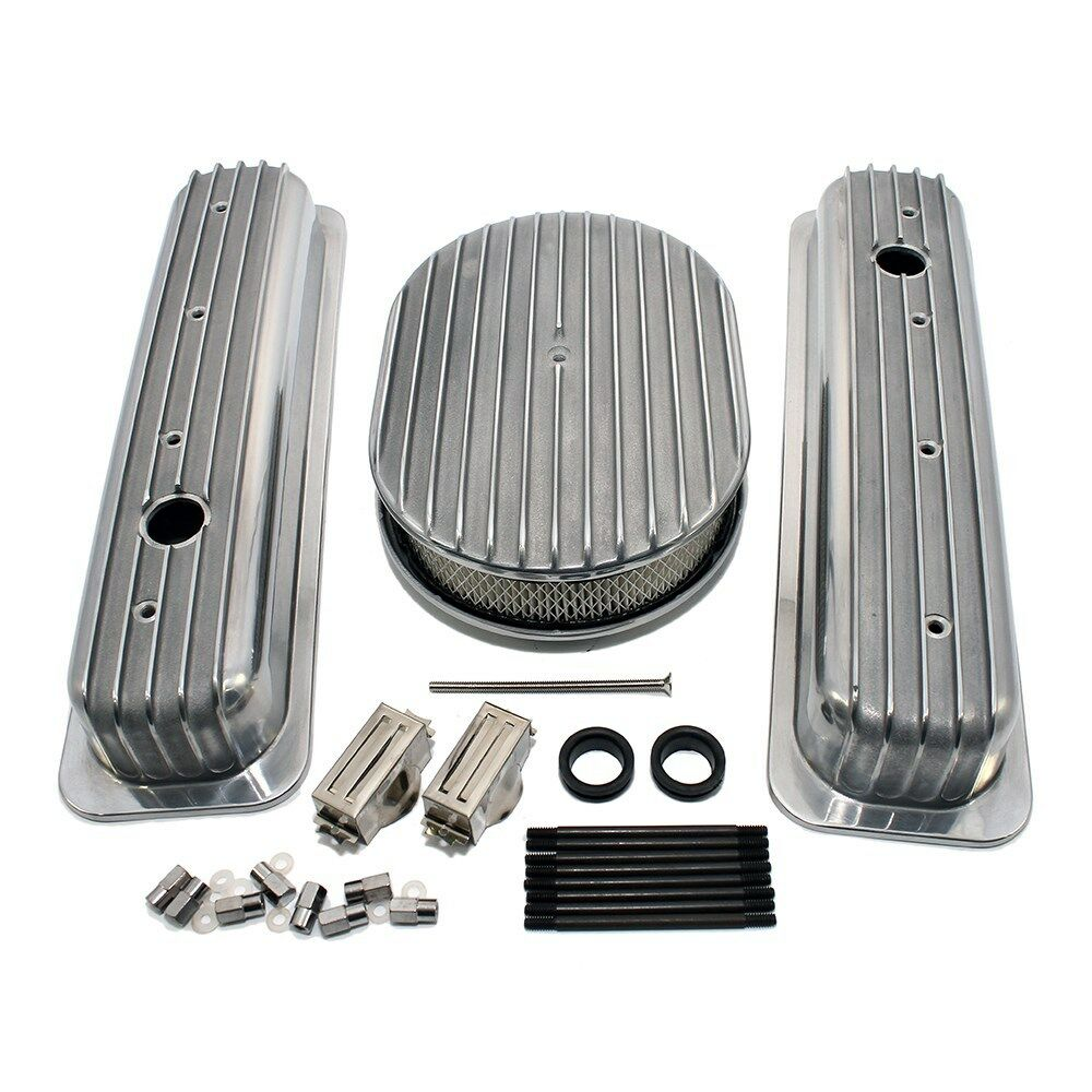 Chevy 350 Air Cleaner : Chevy short retro finned vortec tbi valve covers air