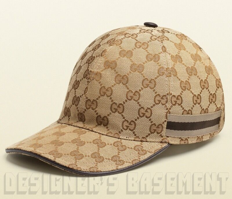 Chocolate Baseball Cap: GUCCI Beige GG Canvas Chocolate/Beige WEB RIBBON Baseball