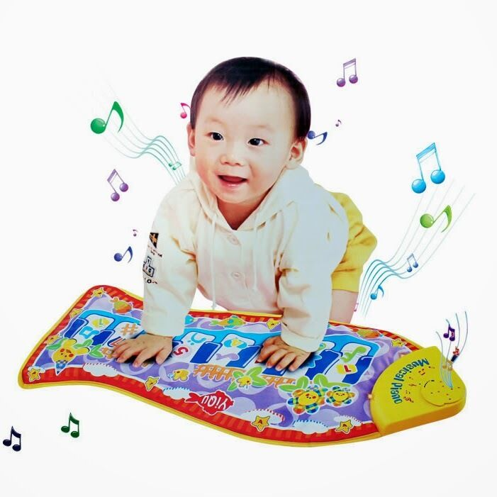 Piano game educational music toy blanket mat pad fish for Baby fish song