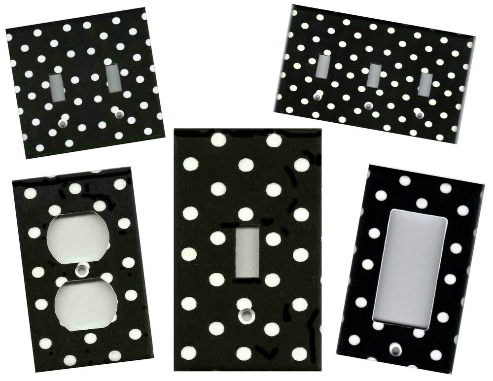 Black with white polka dots home wall decor light switch for Black and white polka dot decorations