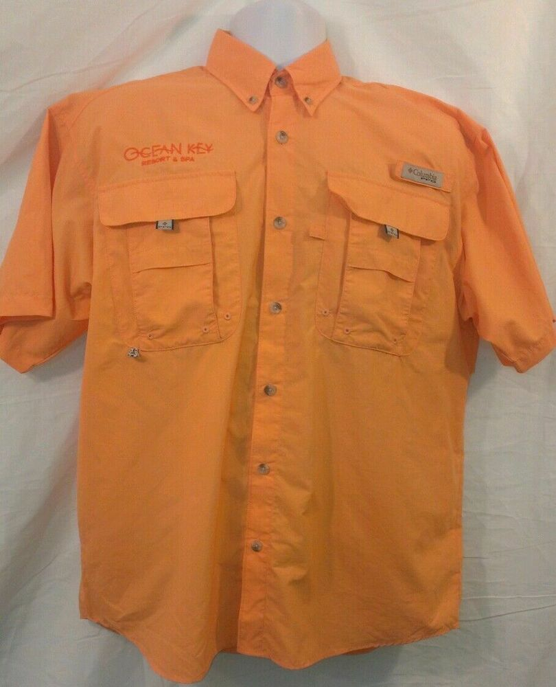 Men 39 s m orange columbia pfg omnishade fishing shirt ocean for Mens fishing shirts