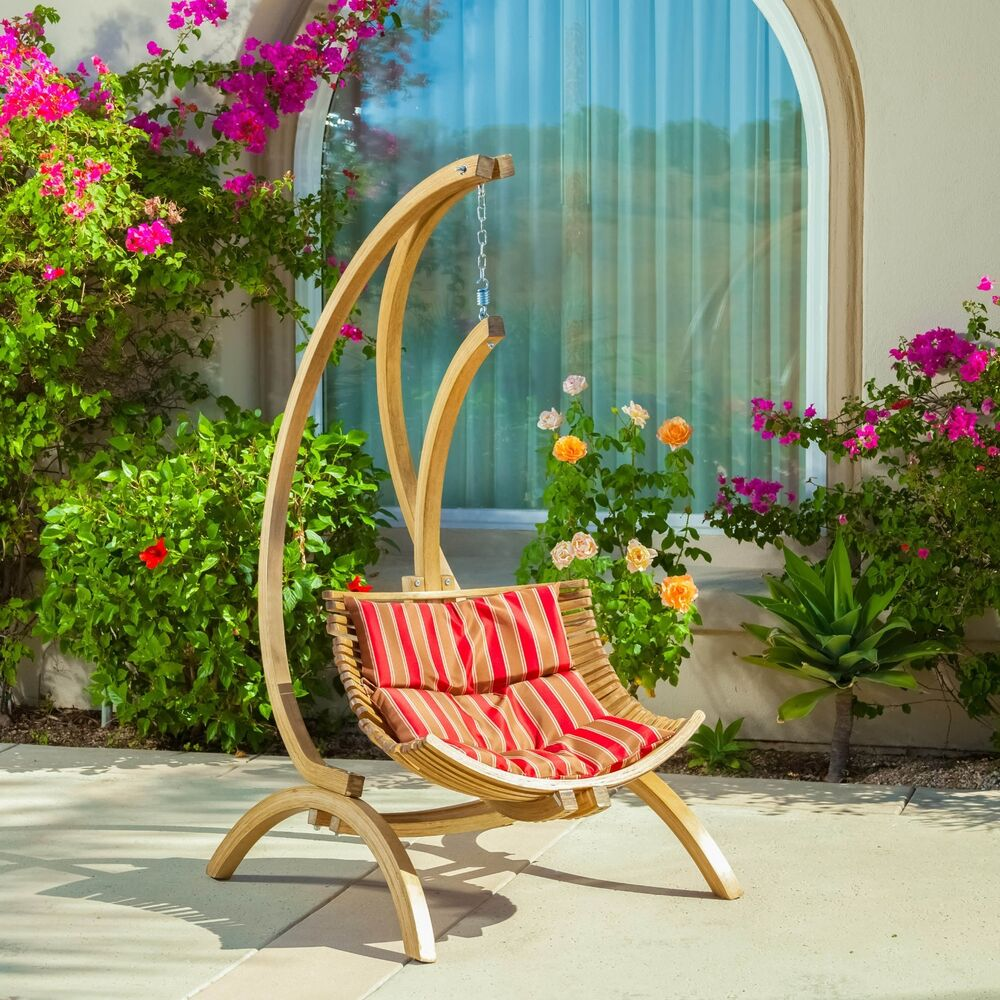 Outdoor Patio Furniture Wooden Hanging Chair Swing W
