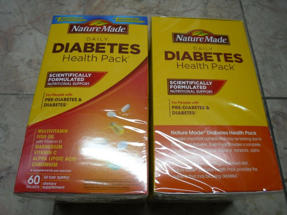 2 x 60pk nature made diabetes health pk multivitamin fish