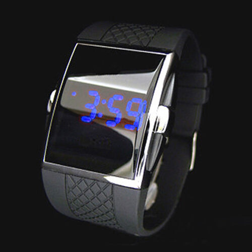blue led watch womens girls digital quartz silicon band. Black Bedroom Furniture Sets. Home Design Ideas