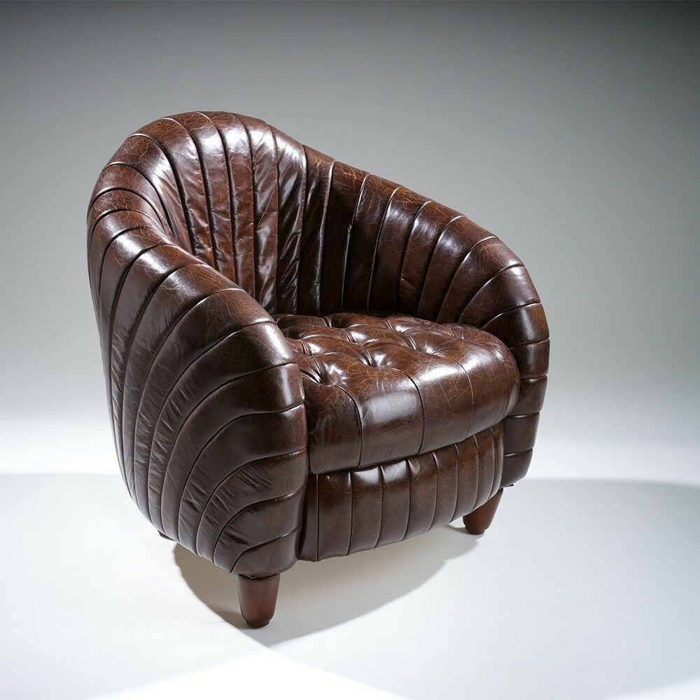 Tufted distressed brown top grain leather tub barrel for Tufted leather chair design