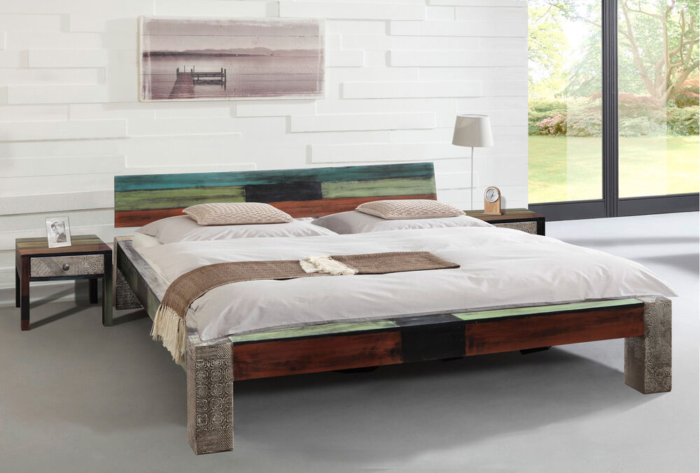 bett 180x200 goa von wolf m bel schlafzimmer vintage used look in multicolor ebay. Black Bedroom Furniture Sets. Home Design Ideas