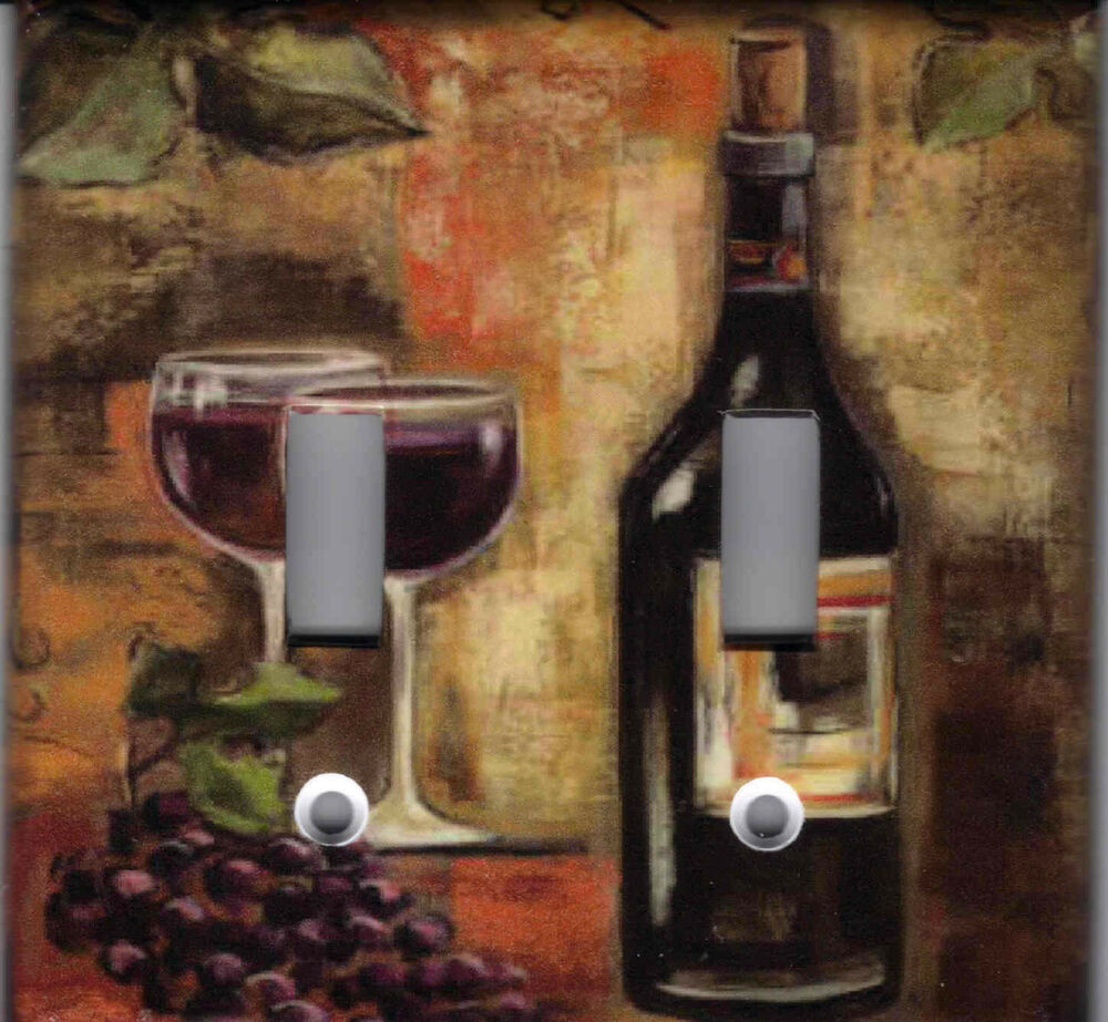 Tuscany wine bottle and glasses tuscan home decor light for Wine home decorations