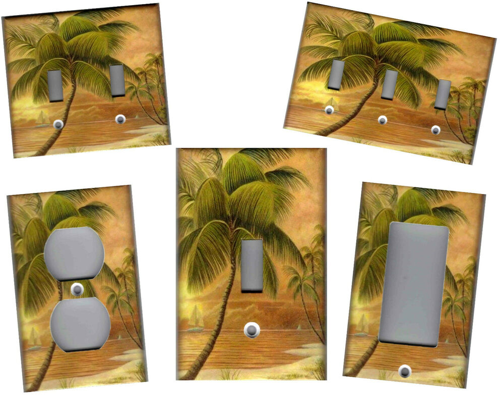 Tropical palm tree in paradise 2 tropical home decor for Decor light switch
