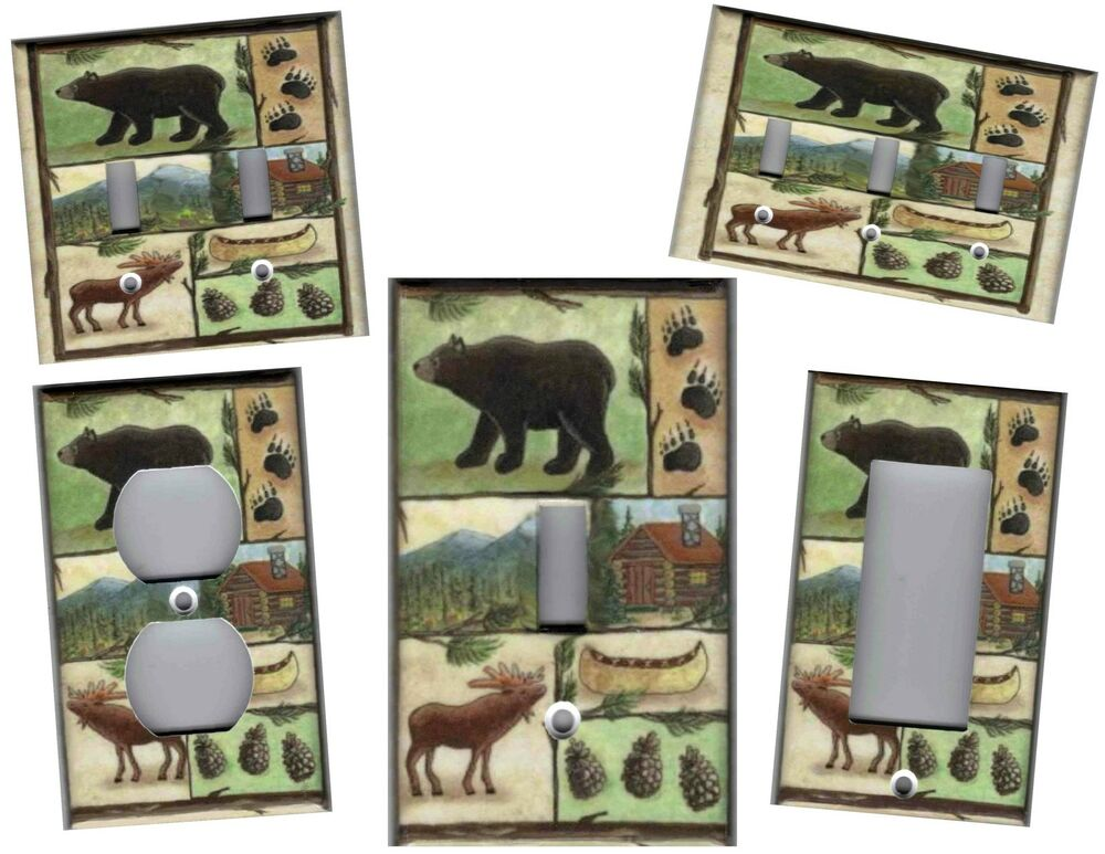 Cabin bear moose home decor light switch plate ebay for Bear home decorations
