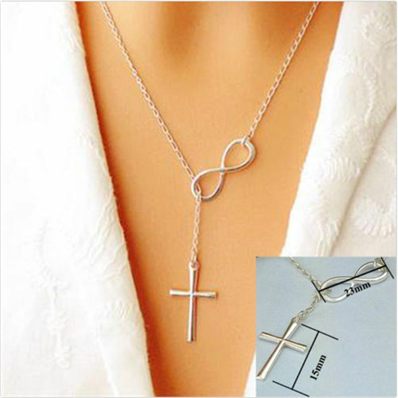 Crucifix Necklace Womens: Fashion Infinity Cross Pendant Necklace Chain For Women