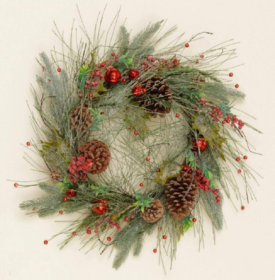 Icy long needle pine christmas wreath with red jingle for Long pine cones