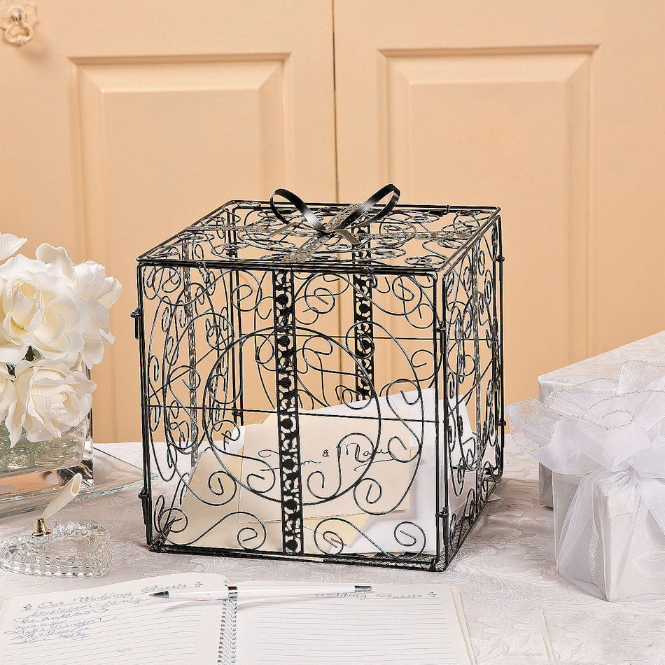 Metal Decorative Wedding Gift Card Holder Box : Black Gift Box w/Bow Metal Wedding Card Holder Wishing Well Reception ...