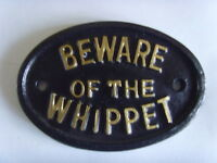 BEWARE WHIPPET  HOUSE SIGN BUSINESS OFFICE  PLAQUE