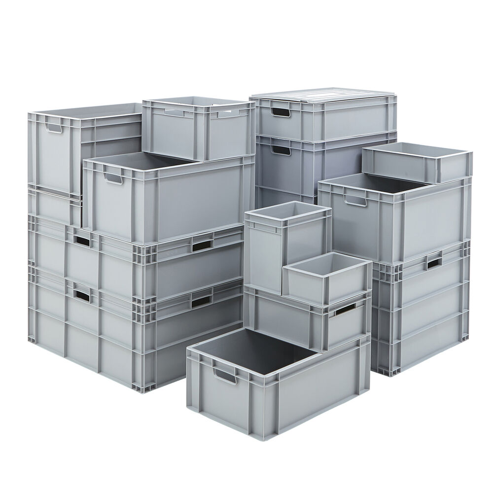 Industrial Stacking Containers : Strong grey euro storage boxes box industrial plastic