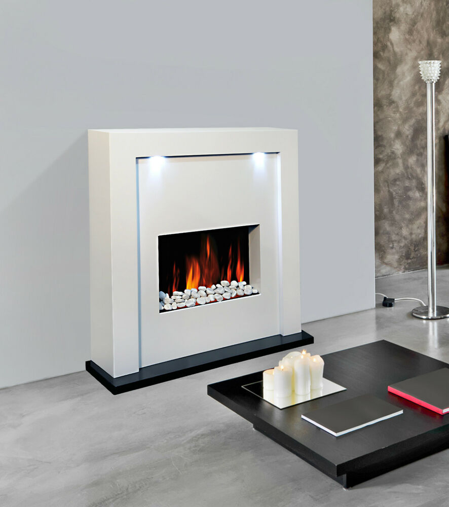 White Mdf Free Standing Inset Electric Fireplace Heater Fire Mantel Led Lights Ebay