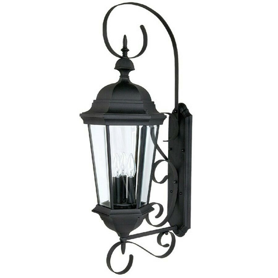 Capital lighting carriage house 3 lamp outdoor wall fixture black 9723bk ebay Exterior carriage house lights