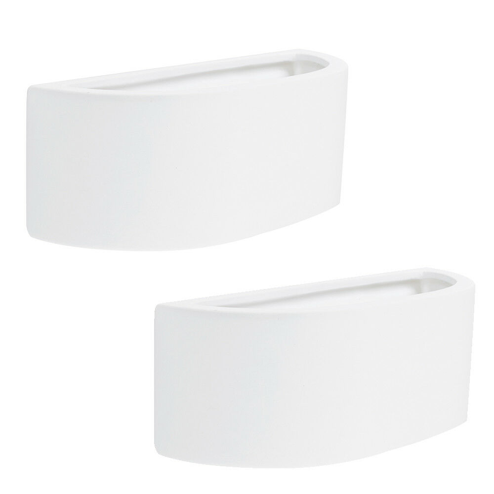 Pair of Contemporary Modern Curved White Ceramic Up & Down Indoor Wall Lights eBay
