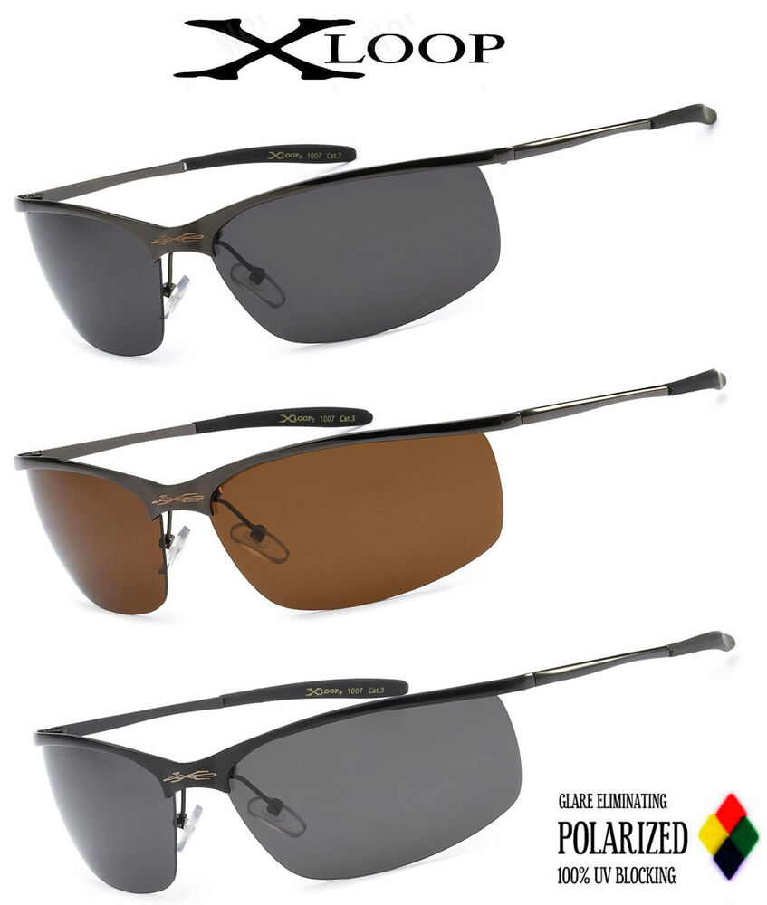 Xloop mens polarized thin metal sunglasses fishing for Mens fishing sunglasses