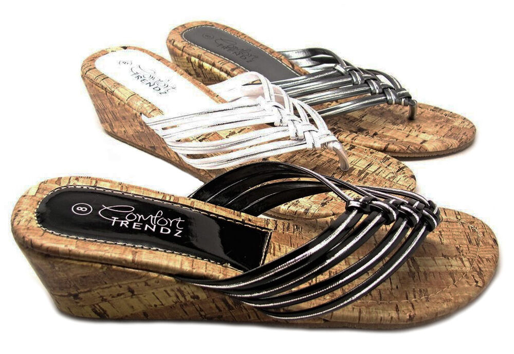 Womens Cork Wedge Sandals Strappy Metallic Silver Piping