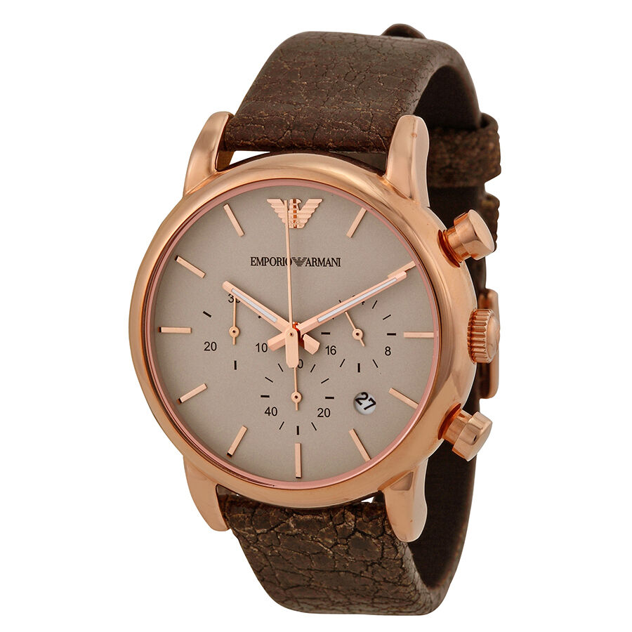 emporio armani chronograph brown brown leather mens