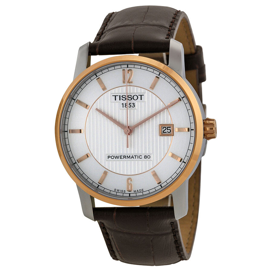 Tissot T-Classic Silver Dial Brown Leather Mens Watch ...