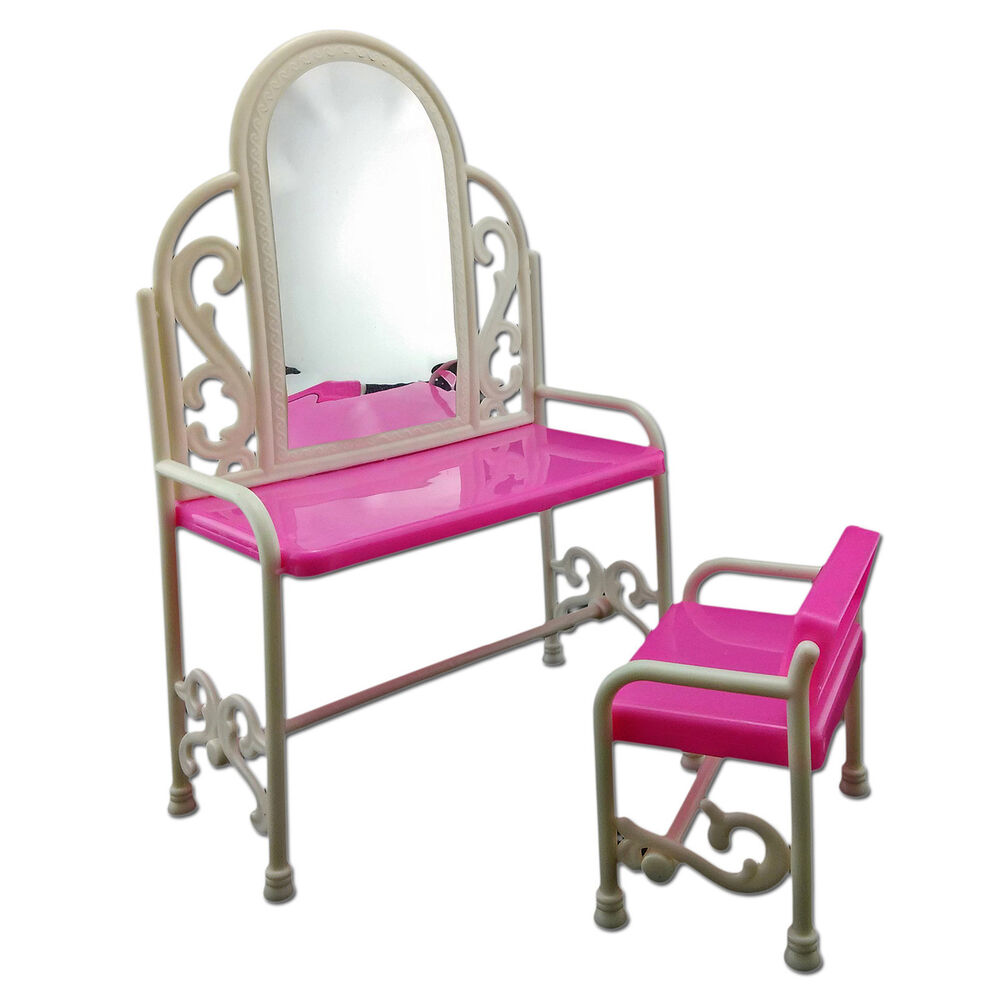 Set Vanity Mirror Desk Chair 1 6 Scale Barbie Doll 39 S House Dollhouse Furniture Ebay