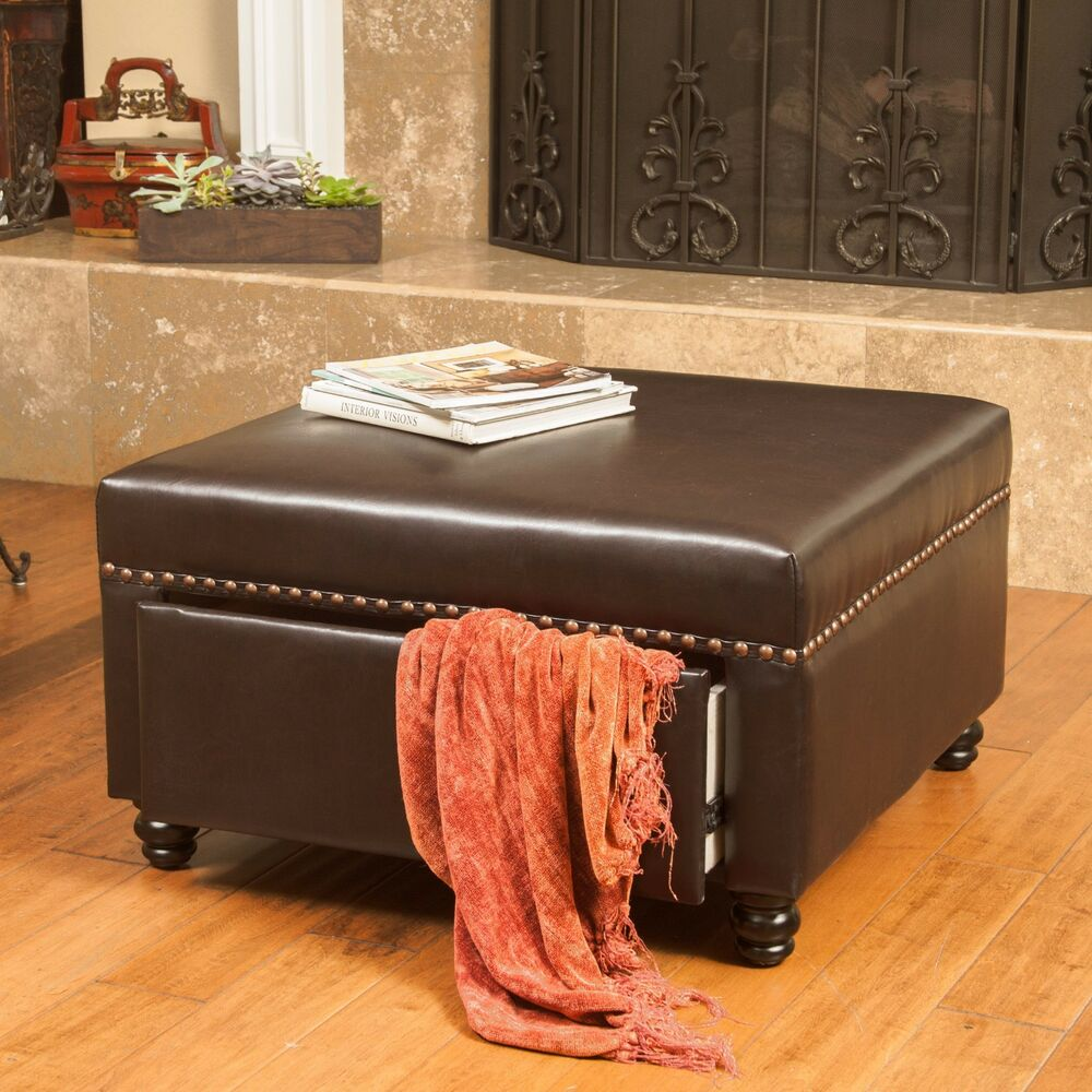 Living Room Furniture Brown Leather Storage Ottoman W Nailhead Accent EBay