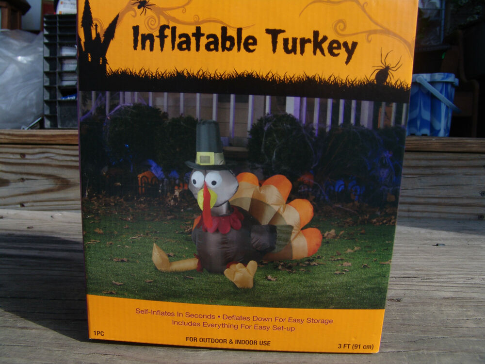 New thanksgiving 3 39 turkey airblown inflatable yard decoration free shipping ebay for Airblown turkey decoration